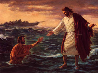 Jesus Christ walking on water and saving Peter from the sea water Christian bible story hq(hd) wallpaper