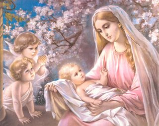 Jesus Christ just born drawing art image with angels and mother Mary