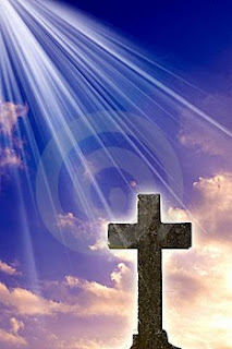 Cross with sky background and god's blessing rays spiritual Christian photo download for free