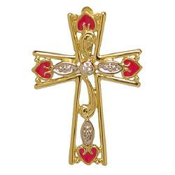 Beautiful Jewelry yellow cross with reddish love symbols free Christian religious    image for Jesus Christ