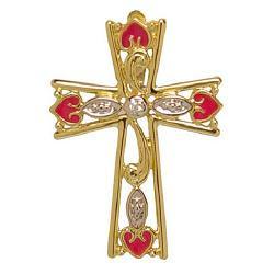 Beautiful Jewelry yellow cross with reddish love symbols free Christian religious    image for Jesus Christ