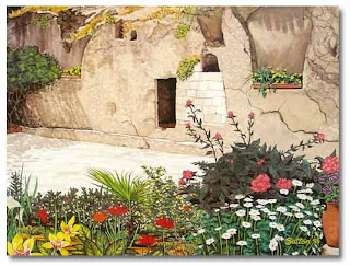 Beautiful flowers at the Jesus Christ empty tomb hd(hq) free Christian religious wallpaper download