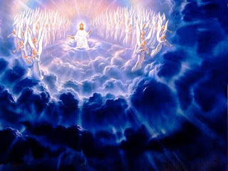 The return of Jesus or second coming of Jesus Christ from heaven in the sky and blue background to the earth while angels singing Spiritual Christian hd(hq) wallpaper free download