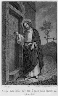 Jesus at the door and knocking door black and white drawing art image