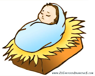 Jesus Born In The Manger Clipart Drawing Art Picture
