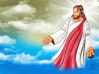 Jesus Christ welcoming hands in the sky color religious Christian picture free download
