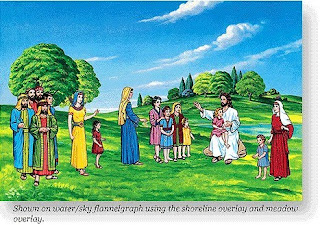 Jesus Christ with Children and their families near to the river on the hills color drawing art image