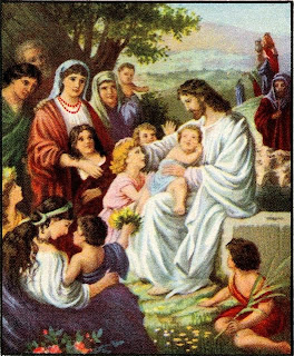 Jesus Christ in white dress and talking with woman and playing with small cute children free religious Christian picture download