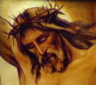 Jesus Christ nailed to the Cross and with Crown of thorns religious Christian image
