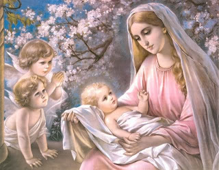 Born baby Jesus with mother mary and child angels smiling at trees Christian desktop background picture