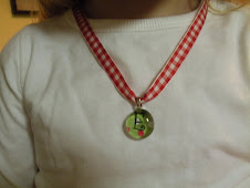 Christmas lime green polka dot chick charm pendant w/ ribbon necklace $9