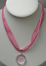 Pink crystal engravable pendant and ribbon necklace $16 plus $5 for monogramming