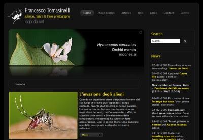 Home page di Isopoda.net, sito di Francesco Tomasinelli.