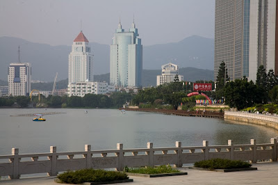 Picture of the West Lake in Fuzhou with high rises