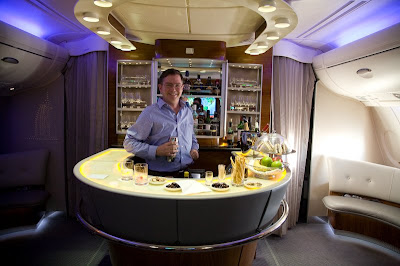 Jim Fruchterman behind the bar on an Airbus 380