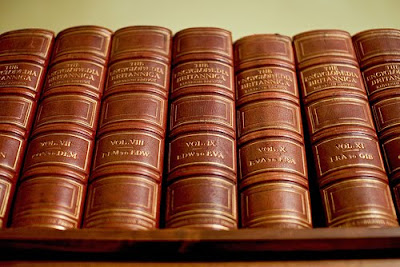 Row of 1911 Encyclopaedia Britannica volumes