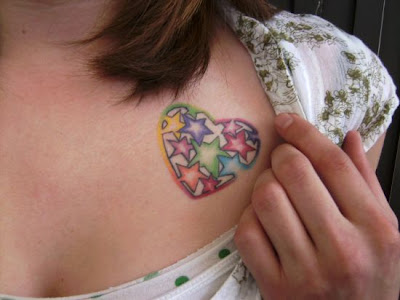 star tattoo, colorful rainbow Tattoo & Piercing