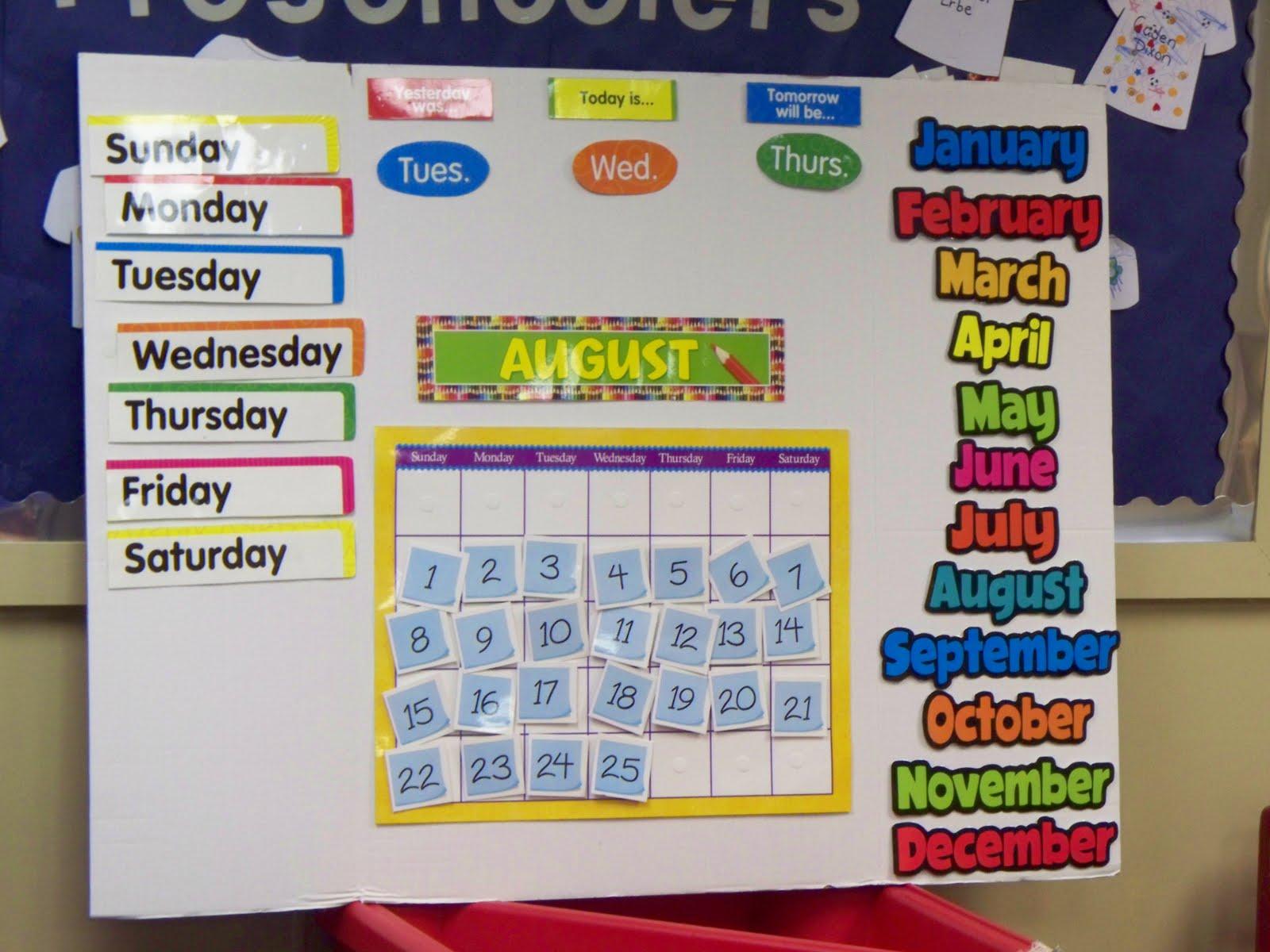 Kindergarten Calendar Displays : I teach preschool trifold board calendar
