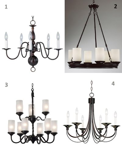 Oil Rubbed Bronze Chandelier from Target: $99. 2. Otis Pillar Candle  Chandelier from Overstock: $275; 3. Monroe Pillar Candle