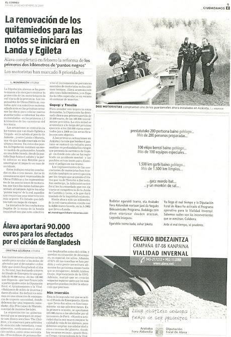 La renovacion de los quitamiedos para las motos se iniciara en Landa y Eguileta