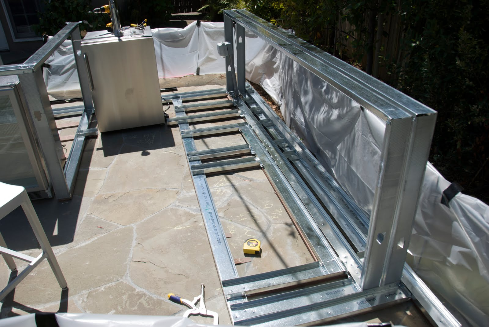 Outdoor Kitchen Metal Frame Outdoor Kitchen Construction April 2010