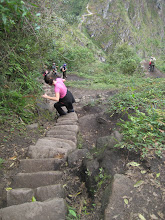 The steep hike down Wayna Picchu