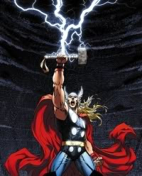 Thor and his famous divine Hammer.