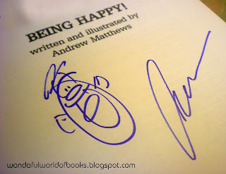 My autographed copy of 'Being Happy!'