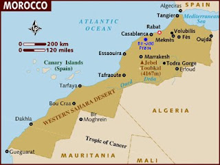 Map of Morocco showing the Bir-Jdid prison where Malika's family were held from 1977 to 1987