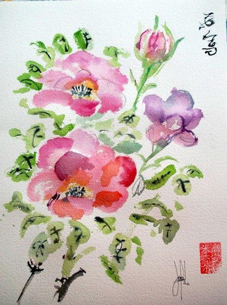 Dibujos flores chinas imagui - Rosas chinas ...