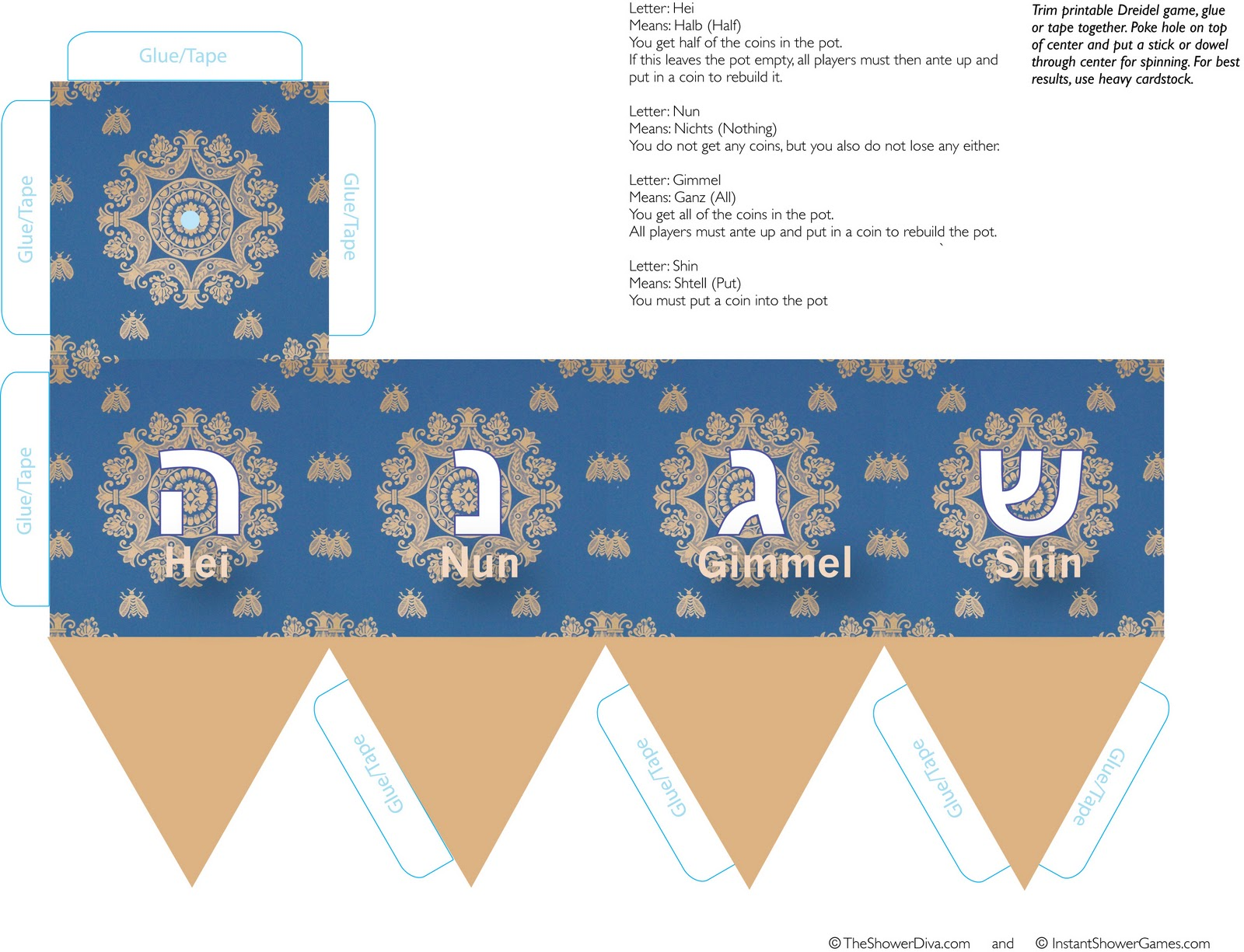 image about Printable Dreidel titled Cost-free Printable Dreidel Behavior for Dreidel Paper Activity The