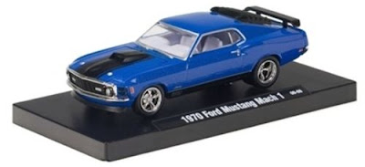Marks Diecast M2 Machines 1970 Ford Mustang Mach 1 Metallic Sky Blue Drivers Release 2