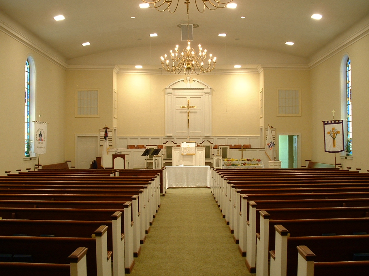 my church s sanctuary is of very modest d cor a long