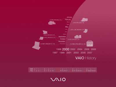 vaio wallpaper download. VAIO Calendar Wallpaper 2008 - October History 2000. Available Resolutions: