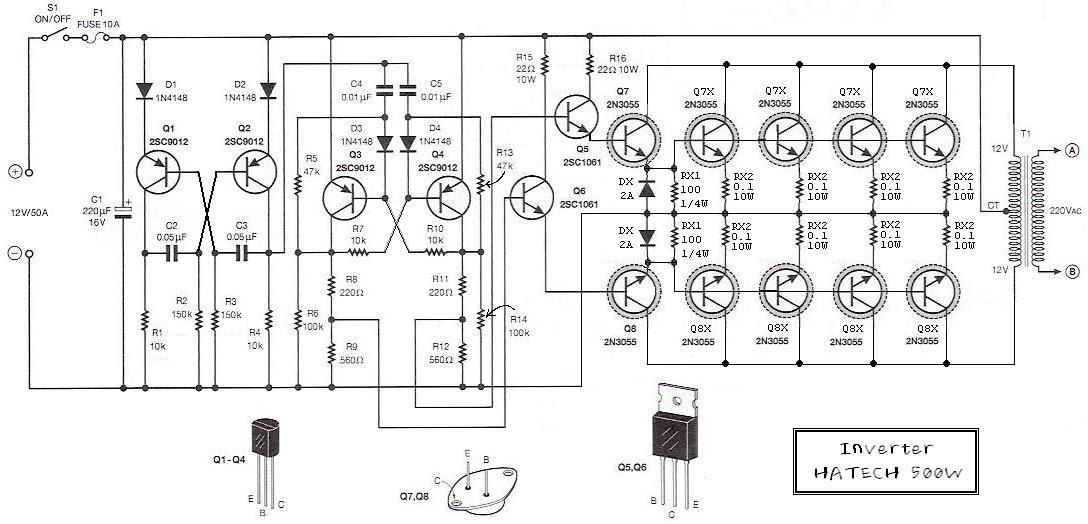 gvc lighting  inverter circuit  12v to 220v 500w by 2n3055