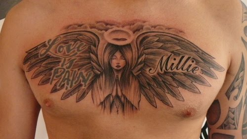 sad angel tattoo. tattoos or angel tattoo