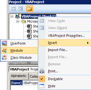 excel vba interface - add module to project
