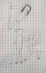 las compañeras del taller de teatro colaboraron posando para el dibujante