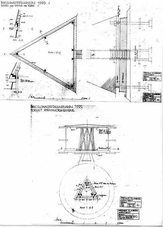 Plano 1 de Peder Clason arquitecto Torre de Suecia Montjuïc – Barcelona 1929
