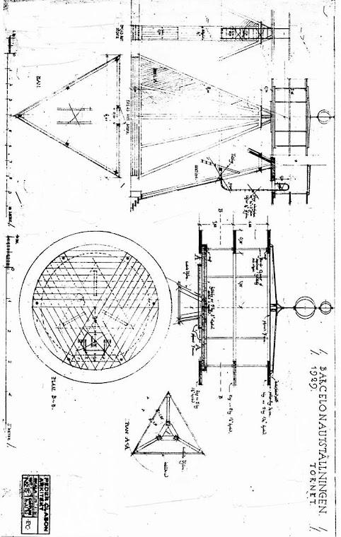 Plano 2 de Peder Clason arquitecto Torre de Suecia Montjuïc - Barcelona de 1929
