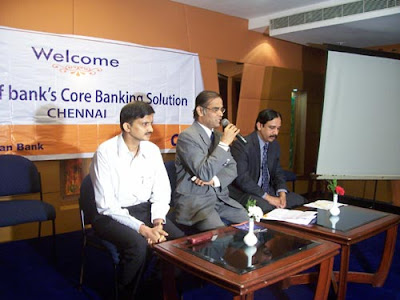 Catholic Syrian Bank launching core banking software - L to R - B Suresh Kamath (MD of Laser Soft), R Venkataraman (Chairman of Catholic Syrian Bank), V P Iswardas (Chief General Manager of the Bank)