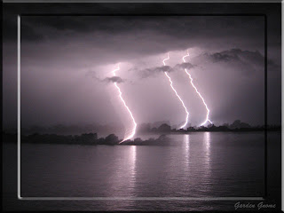 triple lightening on the water