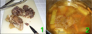 removing meat from stock and bones