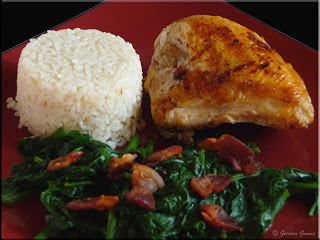 bacon fried chicken with rice and spinach