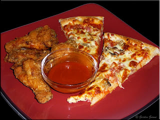 take-out pizza and wings