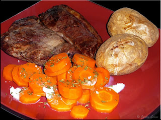 blade steak, oven baked potatoes and herbed carrot coins