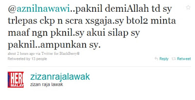 Aznil Nawawi Bengang, Zizan Melawak Guna Nama Bapanya