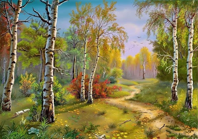 oil painting art: Oil paintings of scenes from nature