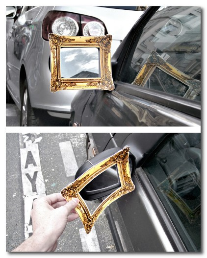vintage frame on a wing mirror