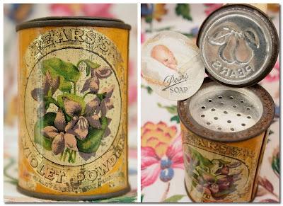 pears violet posder tin vintage home